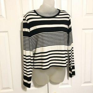 Trina Turk Shirt Medium Blouse Black Cream Stripes